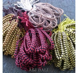 leather mix color hemp bracelet handmade bali