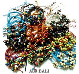 mix color bulk hemp bracelet leather wood beads