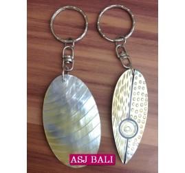hand carved seashells keychain rings bali