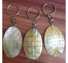 handcarving seashells keychain rings handmade bali