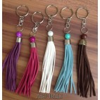 leather tassels keychain rings handmade bali