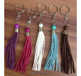 leather tassels keychain rings handmade bali