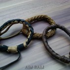 3color hemp bracelet genuine leather bali