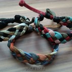 3color hemp bracelet genuine leather motif