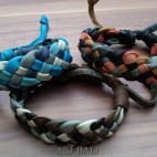 3color hemp bracelet genuine leather bali design