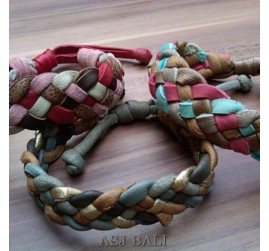 3color hemp bracelet genuine leather friendship