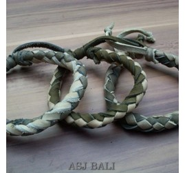 3color hemp bracelet genuine leather handmade