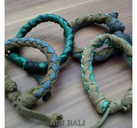 4color hemp bracelet genuine bali leather