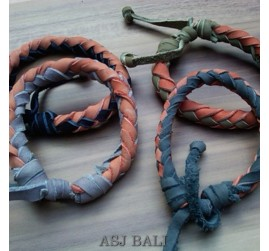 4color hemp bracelet genuine cow leather bali