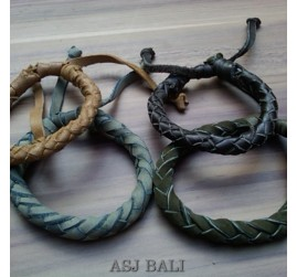 4color hemp bracelet genuine leather cows bali