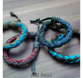 4color hemp bracelet genuine leather bali
