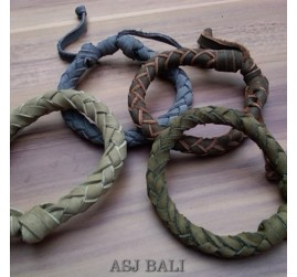 4color hemp bracelet genuine leather arround