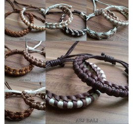 cow leather hemp bracelet handmade bali natural