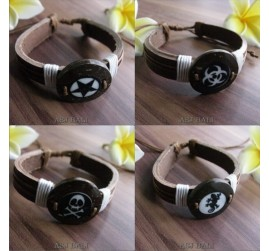 genuine leather bracelet ethnic coco wood tattoo