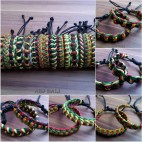 leather bracelet rasta designs genuine made bali