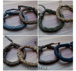 balinese leather hemp bracelet mix color
