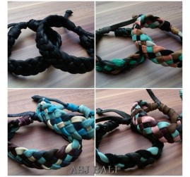 handmade mix color leather hemp bracelets