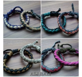 handmade mix color leather cow bracelets men