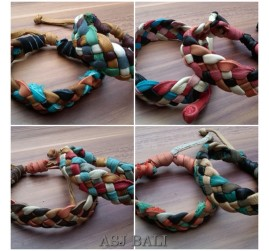 mix design genuine leather hemp bracelets color