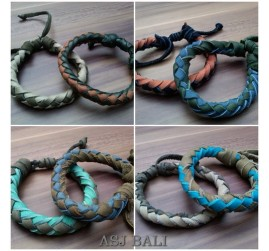 mix color genuine leather design hemp bracelets