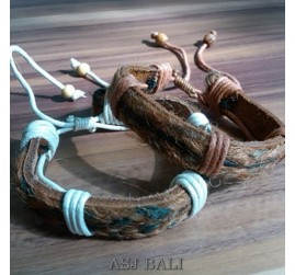 natural handmade straw ethnic bracelet cow leather