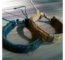 natural straw ethnic bracelet leather bali