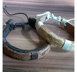 balinese natural straw ethnic bracelet leather