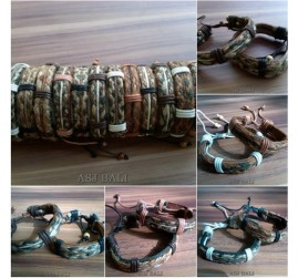 natural straw handmade leather bracelets ethnic