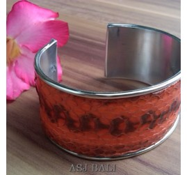 snake python leather bangle bali red