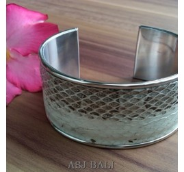 snake python leather white bangle bali
