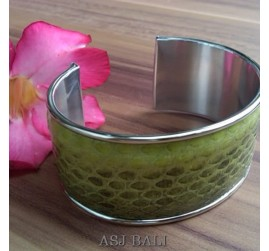 snake python leather bangle bali green