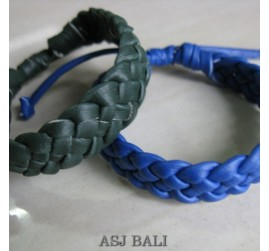 2color genuine leather hemp bracelets bali designs