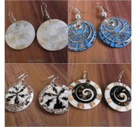 4model handmade seashells earrings bali