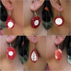 6model red coral seashells earrings bali design