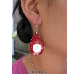 tears shell red coral hooked earrings handmade