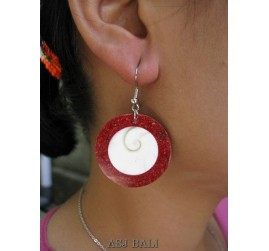 red coral hook earring handmade bali