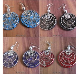 resin seashells earrings steel spiral 4color