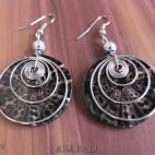 resin seashells earrings with steel spiral handmade black
