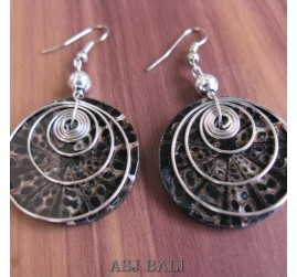 resin seashells earrings with steel spiral handmade black