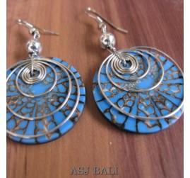 resin seashells earrings steel spiral blue