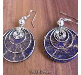 seashells earrings steel spiral handmade purple