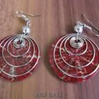 seashells earrings steel spiral handmade red