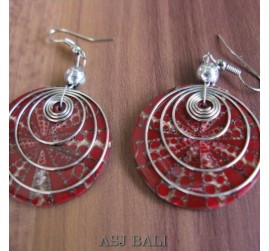 seashells earrings steel spiral handmade red