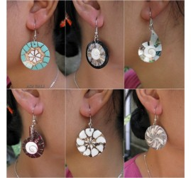 seashells earrings resin handmade 6model mix