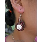 seashells earrings resin nautilus red handmade