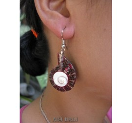 seashells earrings resin nautilus red handmade