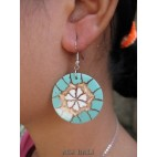 seashells earrings resin turquoise handmade