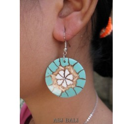 seashells earrings resin turquoise handmade