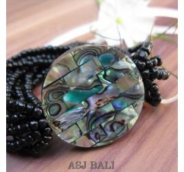 bracelets beads seashells stretch abalone full