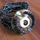 bracelets beads seashells stretch abalone nautilus